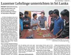 Luzerner Lehrlinge unterrichten in Sri Lanka